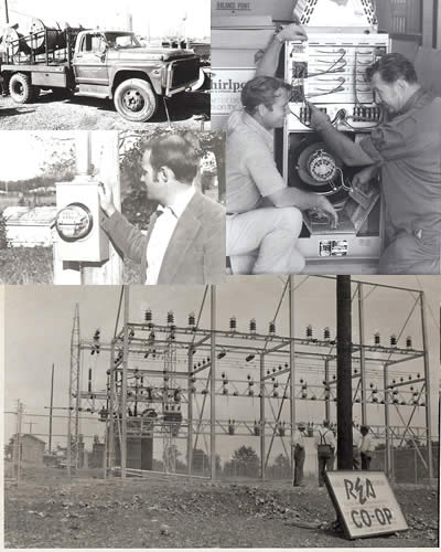 A collage of old cooperative photos, including a truck, meter, air conditioner and substation.
